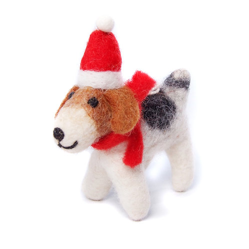 Fox Terrier with Hat & Scarf
