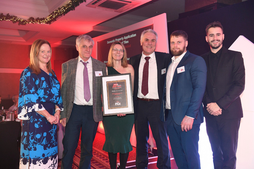Some of the team receiving our Highly Commended citation at the  2019 Pitched Roofing Awards.