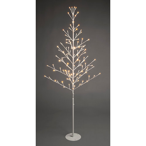 120cm Lit Flat White Tree - firefly/warm white
