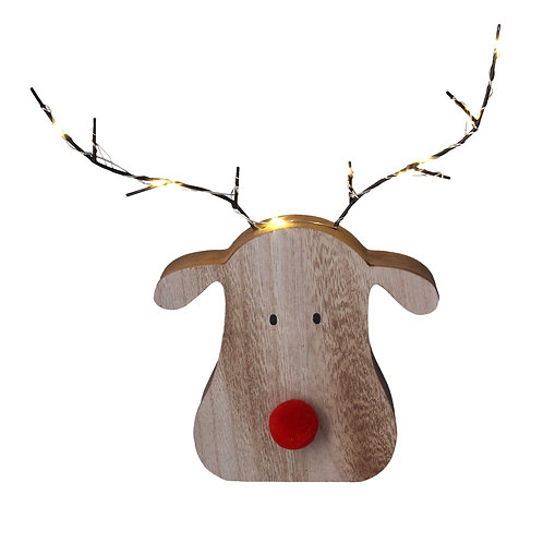 Wooden Reindeer with Light Antlers