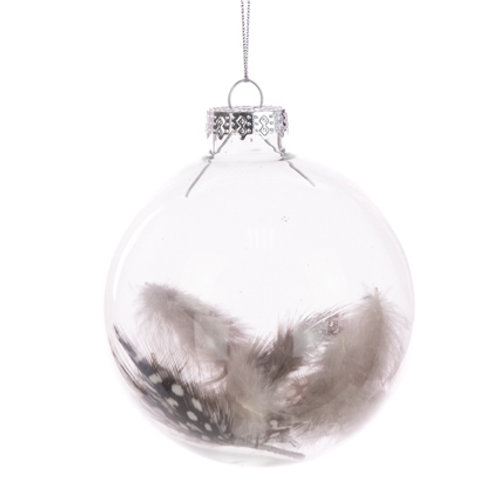 Glass Bauble with feather