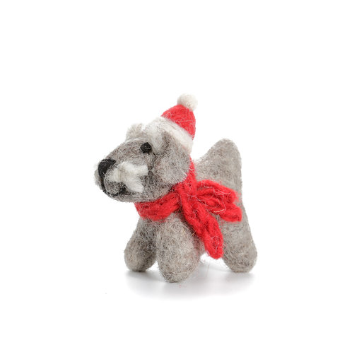 Small Schnauzer with Hat & Scarf