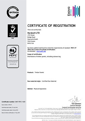 Nordcell PEFC Certificate of Registration