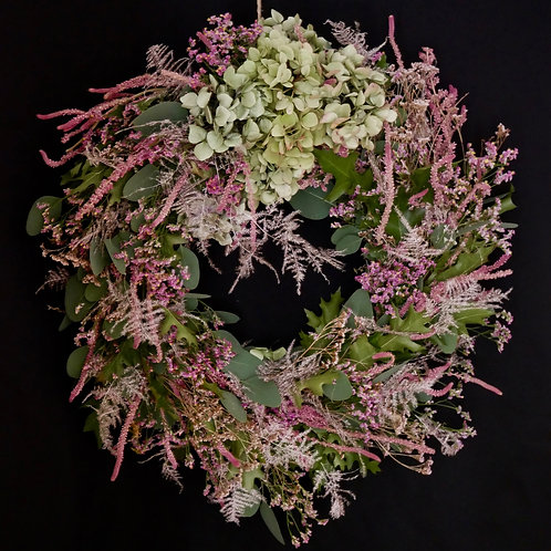 Pink dried floral wreath