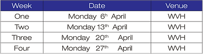April WVH Salsa timetable