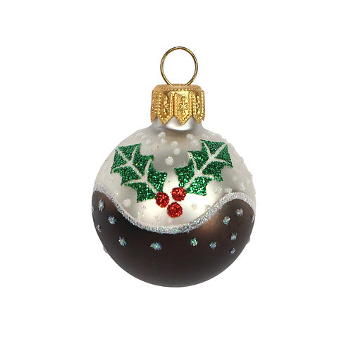 Painted Mini Glass Christmas Pudding Bauble