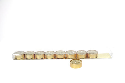 Gold Glittered Wax Tea Light Candle