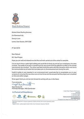 Testimonial for Richard Soan Roofing Servics from King's Academy, Ringmer