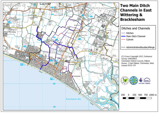 Map of Main Ditch Channels in East Wittering and Bracklesham