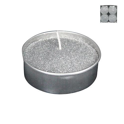 Silver Glitter Large Tea Light