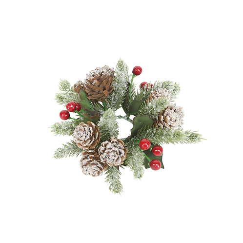 Frosted Fir with Red Berry Candle Ring