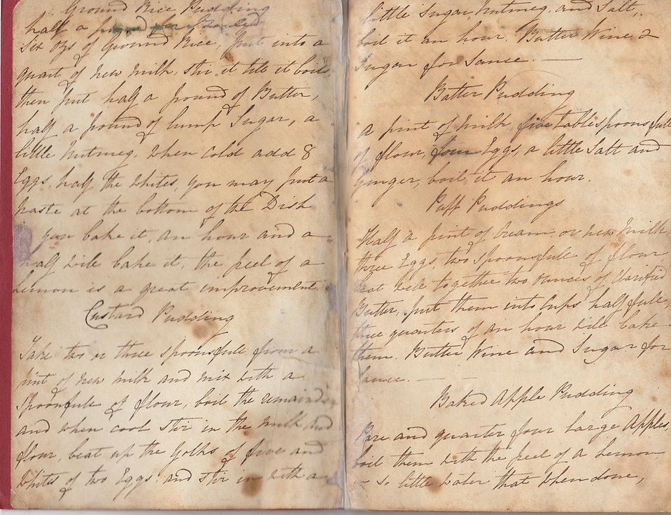 Cuckfield Connections - Pages from one of Mrs Waller's recipe books