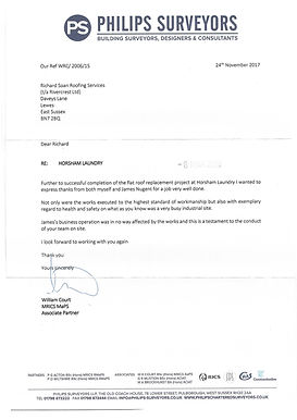 Testimonial for Richard Soan Roofing Servics from Philips Surveyors