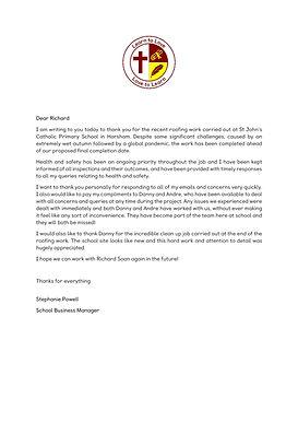 St John's Catholic Primary School Letter
