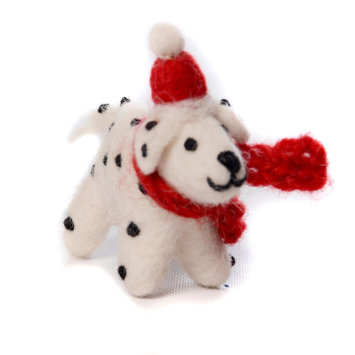 Dalmatian with hat and scarf