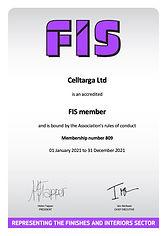 Celltarga FIS Accredited Membership Certificate 2021