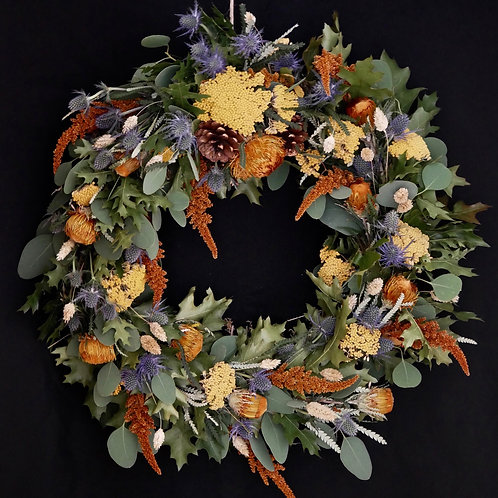 Dried floral autumnal wreath