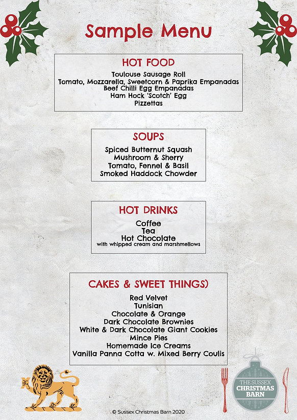 Sample Sussex Christmas Barn cafe menu