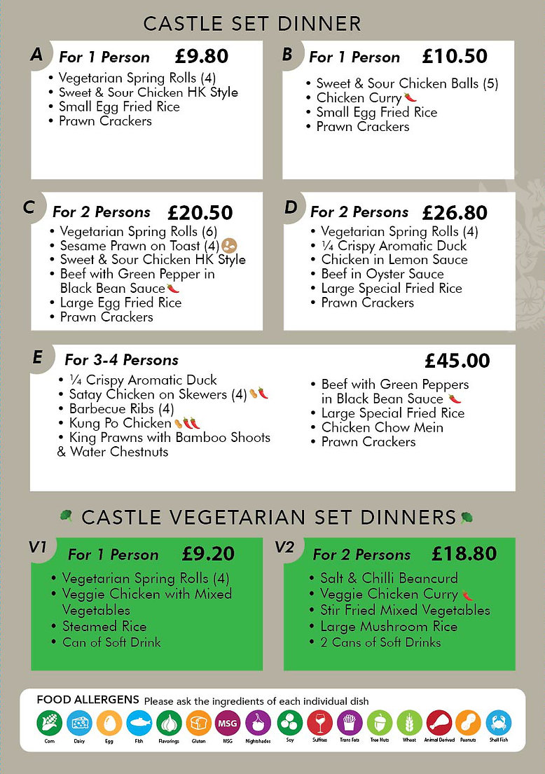 Castle Chinese Take-Away set dinner options
