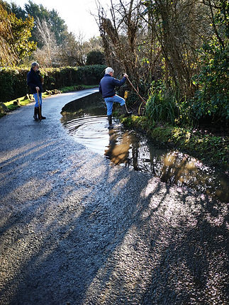 A survey reveals flooding caused by a blocked ditch