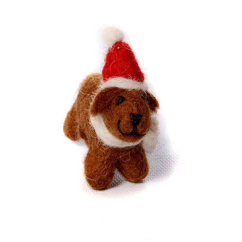 Mini Chocolate Labrador with Hat & Scarf