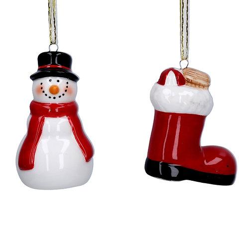 Ceramic Christmas decoration on a string hanger