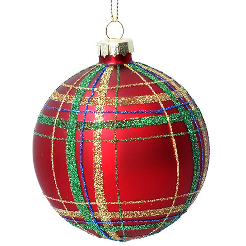 Red Tartan Glass Ball
