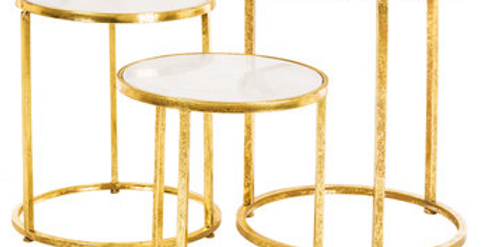 Marble Top Gold End Tables