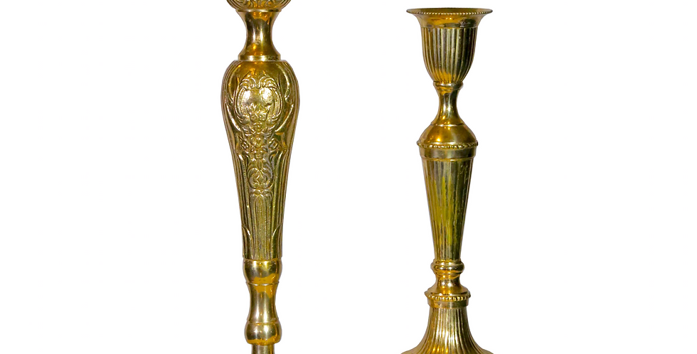 Lumiere Tall Brass Candlesticks