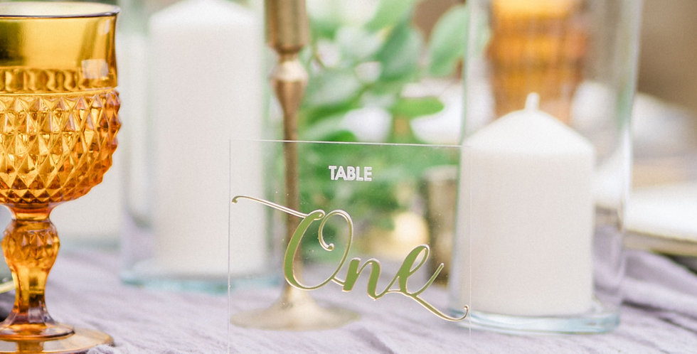 Acrylic & Gold Table Numbers
