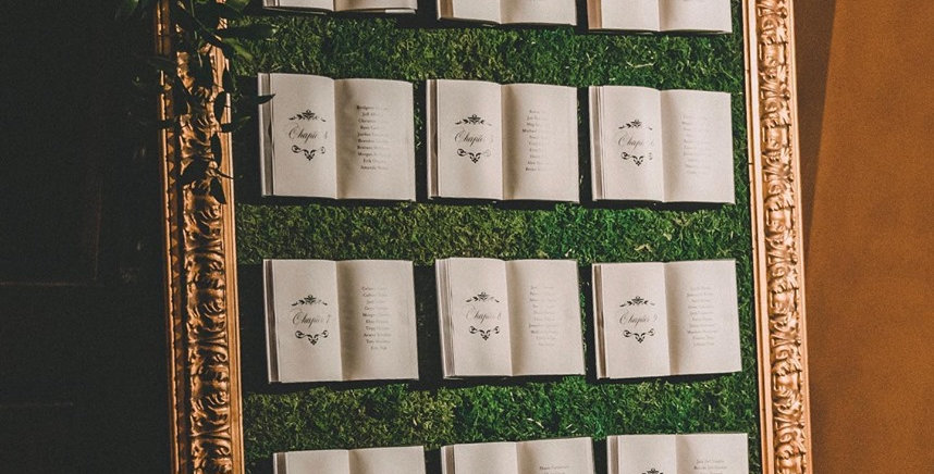 Moss Frame with Books Seating Chart