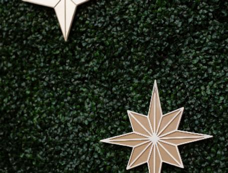 Acrylic Ivory + Gold Stars