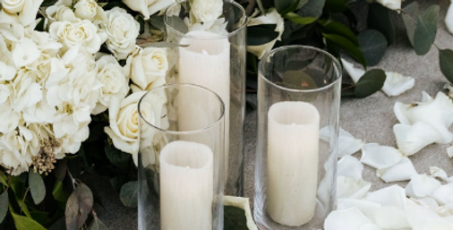 Glass cylinders with LED candles