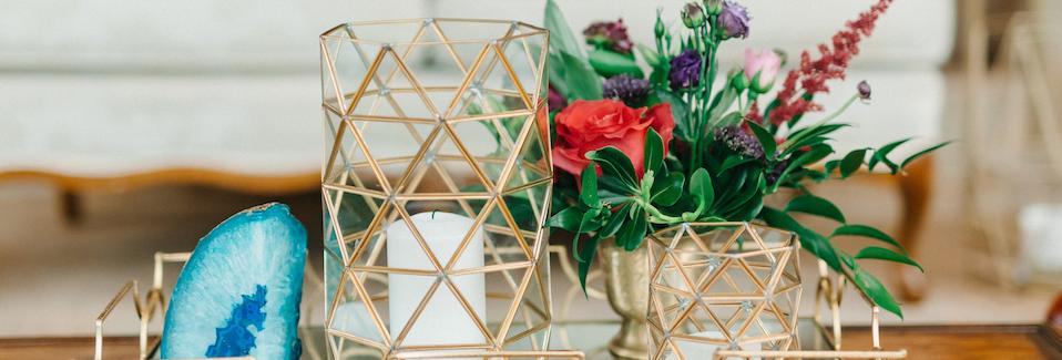 Geometric Glass Candle Holders