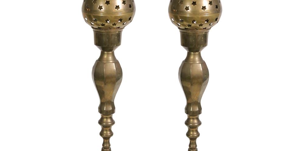 Stardust Tall Brass Candlesticks
