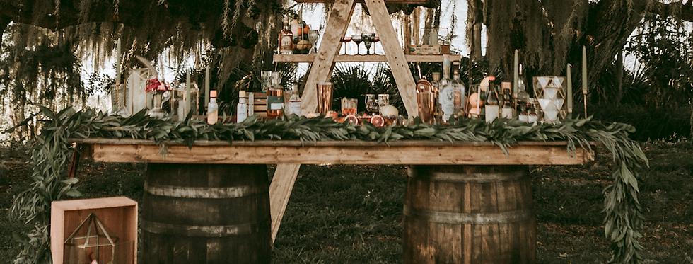 Wine Barrel + Farm Wood Top Bar