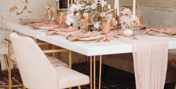 White & Gold 8ft Tables