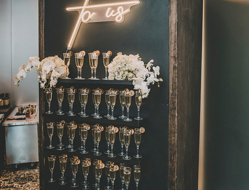 Colored Champagne/ Drink Wall