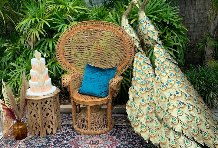 Large Gold Jeweled Peacock Statues