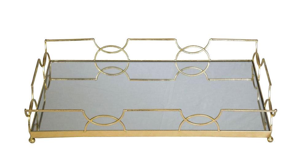 Large Geometric Gold Tray