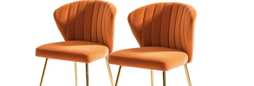 Emily Orange Velvet Mid-Century Chairs