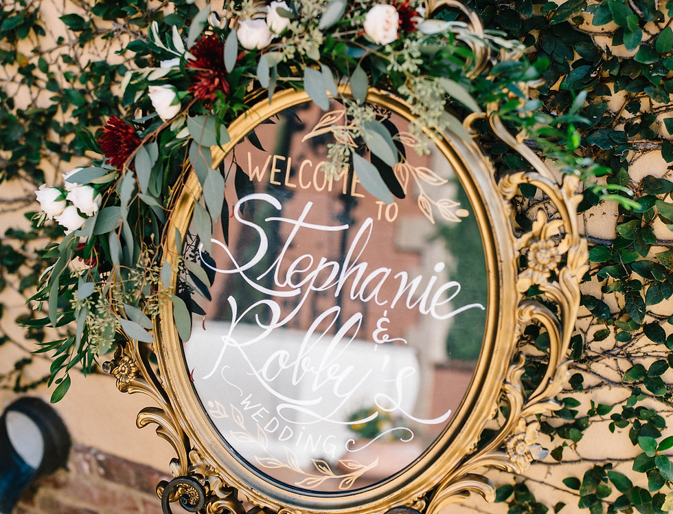 Gold Oval Mirror Welcome Sign