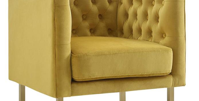 Ira Yellow Velvet Chair