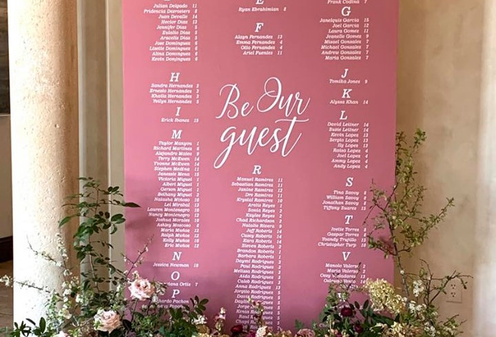 Dusty Rose Wood Slab + Walnut Base Seating Chart