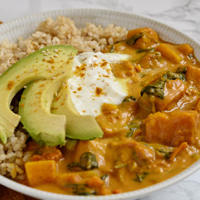 Curry butternut & épinards au lait de coco