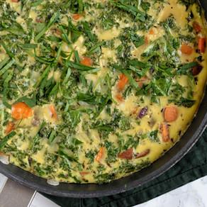 Frittata au kale & patate douce rôtie