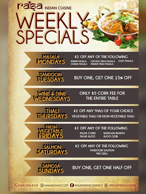 Weekdays just got better here at Rasa In