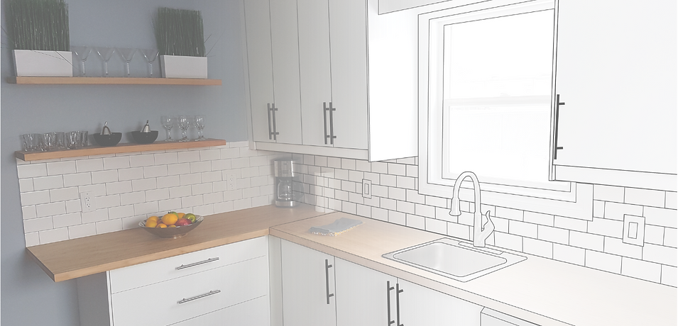 Kitchen Reno Graphic showing a kitchen renovation fading into a digital mockup