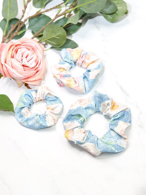 "Scrunchie Jersey ""Jeans Flowers"""