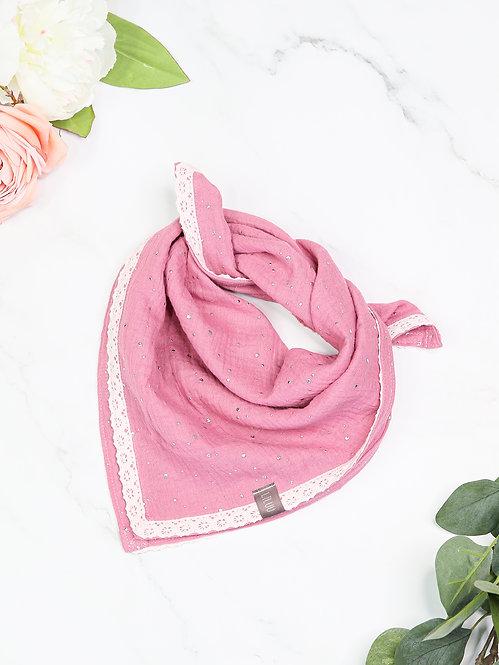 Musselin-Schal mit Spitze